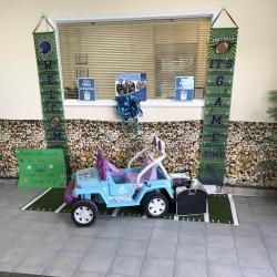 Toy jeep display at our Key Largo Branch featuring a trunk organizer given when opening a free checking account